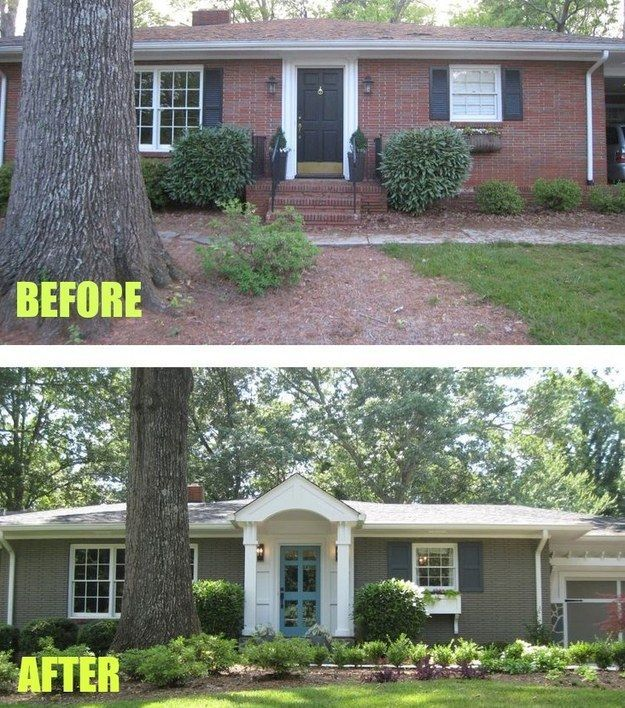 While this one got instantly cozier with a front door overhang. | 15 Curb Appeal Makeovers That Can Double Your Home's Value