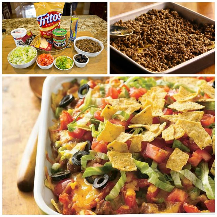Tasty taco ingredients combine in this easy casserole topped with crunchy Frito Lay chips.     Related