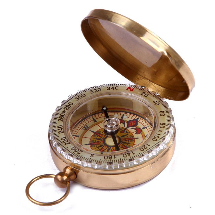 HDE Glow in the Dark Brass Magnetic Pocket Directional Compass for Camping and Hiking *** Check out this great product.