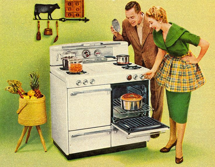 Nothing says lovin' like something from four areas of the oven! :) (1955) #vintage #cooking #food #kitchen #appliances
