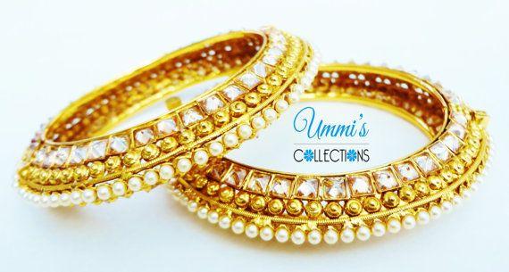 Golden Antique Zircon Kada Indian Bangles by UmmisCollections
