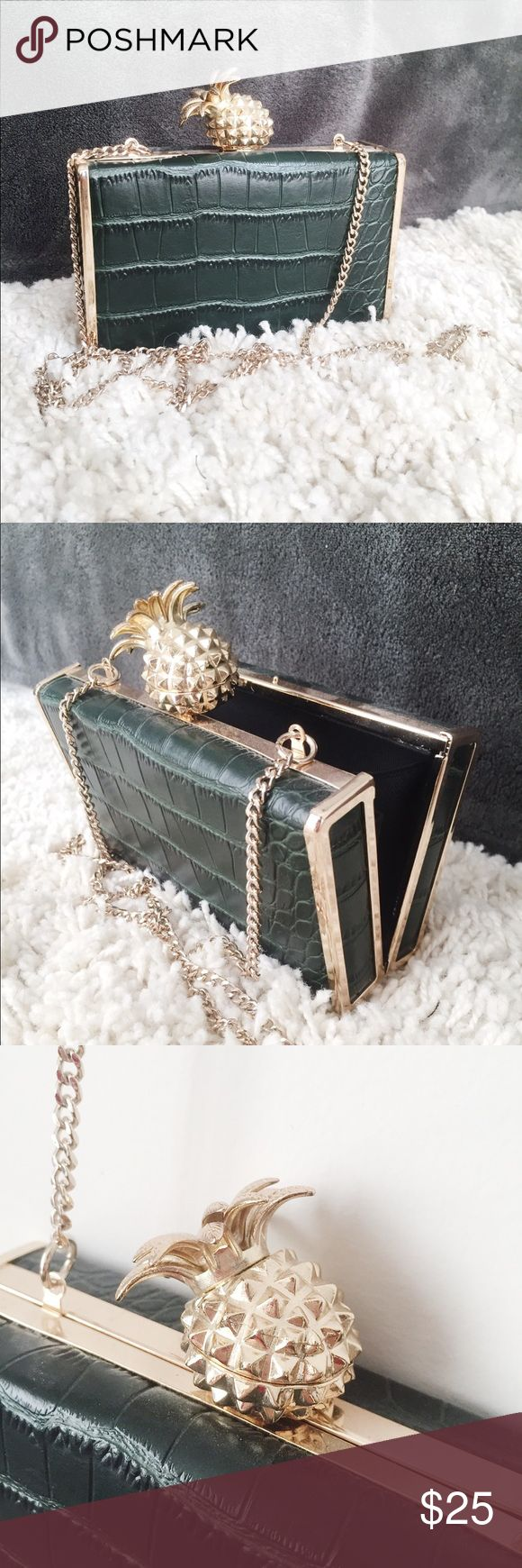"""Zara pineapple leather clutch Mini leather clutch with a golden pineapple detail that add a little elegant pop to your outfit.   6""""W x 3.5""""H x 2"""" D Zara Bags Clutches & Wristlets"""