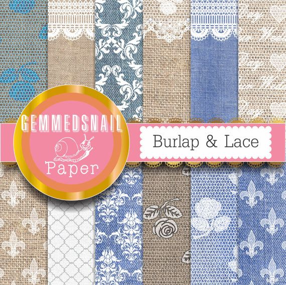 Burlap and lace digital paper, burlap and lace backgrounds with denim and lace patterns x 12