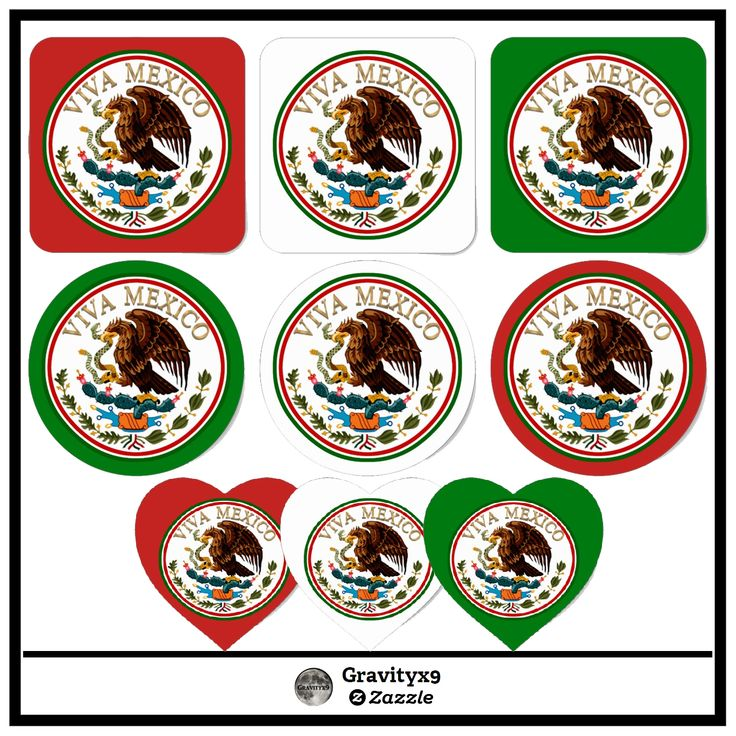 Viva Mexico Mexican Flag Icon w/ Gold Text Classic  Stickers by #Gravityx9 at #Zazzle ~ choose from several shape options and add background color of your choice! #Mexico #vivamexico #orgullo #cincodemayo #hispanic