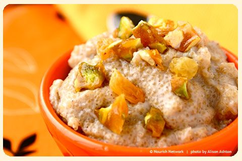 Chai-Spiced Amaranth Pudding with Salted Pistachio Brittle.