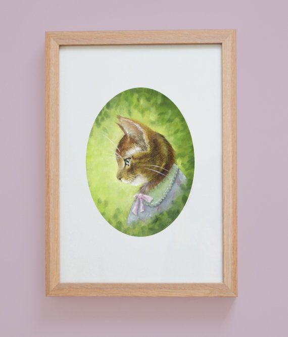 Mama to be Kitty Nursery Girls Room Art Print by Janet Hulme