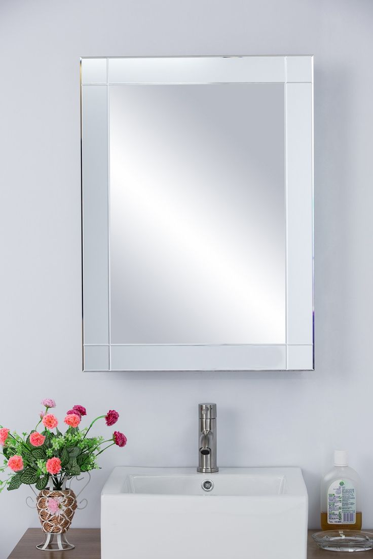 Bathroom wall cabinet with mirror - 22 25 W X 30 25 H Medicine Cabinet Mirrored Frame Recessed Or Surface