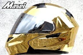 Masei 815 Gold Chrome Modular Flip-Up Motorcycle Helmet