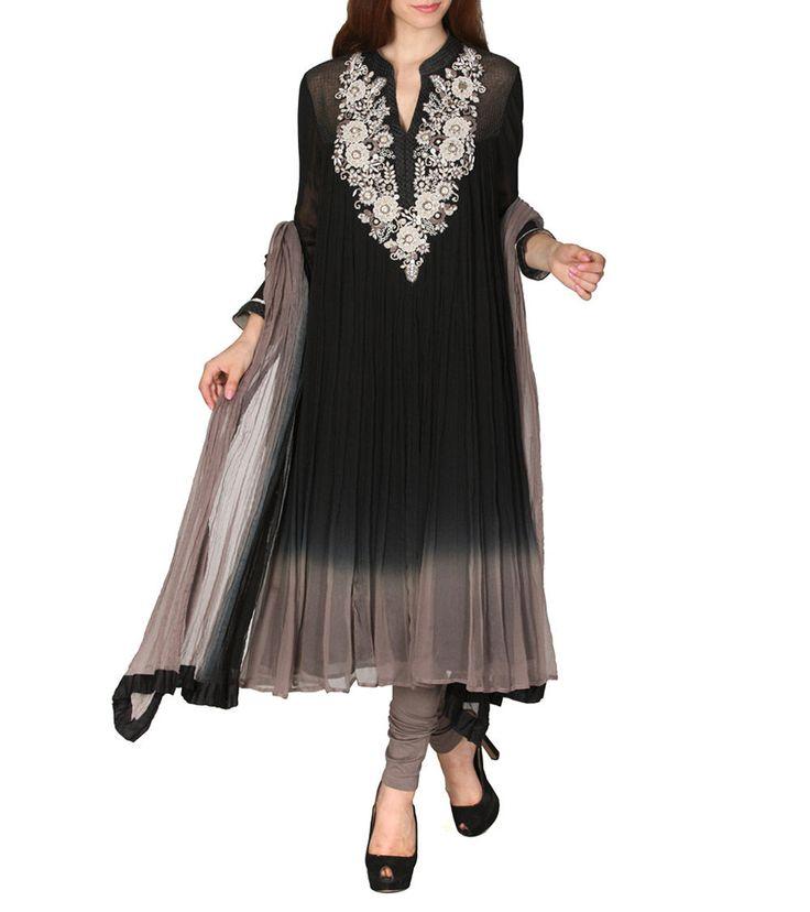 Black Embroidered #Viscose #Chiffon #Churidar #Suit by #Ritu #Kumar at #Indianroots