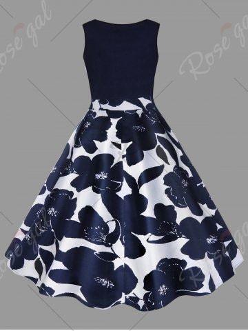 Plus Size Floral Printed Vintage Midi Flare Dress