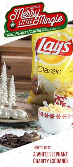 We have the perfect line-up for your party menu with this guide on how to host a white elephant charity gift exchange! From the festive decorating inspiration and tips and tricks for easy entertaining, to the delicious party snacks and recipes for sweet and salty treats—like Lay's Kettle Cooked Chips—it's simple to see that this party theme is perfect for giving a thoughtful twist to your seasonal get-together.