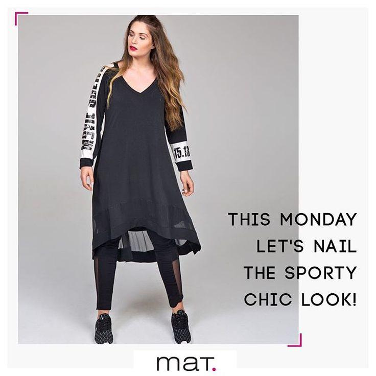 Το sporty chic trend συνεχίζει και φέτος να είναι δυνατό! Το total black sporty chic #matfashion outfit με διαφάνειες είναι ιδανικό για το ξεκίνημα της εβδομάδας! Ασπρόμαυρο φόρεμα / Κωδικός 661.7069, Μαύρο κολάν με διαφάνεια / Κωδικός 661.2099 #fallwinter2016 #collection #sportychic #fashion #inspiration #ootd #mondayoutfit #streetstyle
