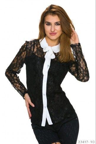 Δίχρωμο δαντελένιο πουκάμισο - Μαύρο Άσπρο