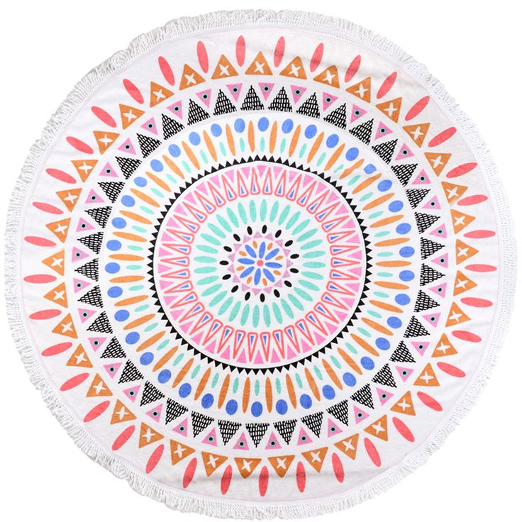 new cotton round title beach towel with tassels cheap beach towel bohemia hand towels toalla playa serviette de plage new cotton round beach towel - Cheap Beach Towels