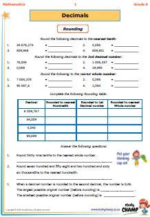 Workbooks - Grade 6 - Mathmatics : Grade 6: Decimal Fractions workbook