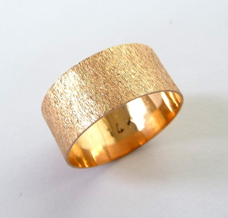 rose gold wedding band men and women wedding ring flat with deep sand roughness finish - Gold Wedding Rings For Women