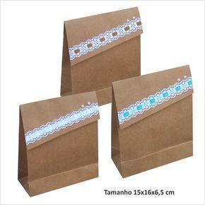 Bolsa de papel Kraft tamaño 15 larg x 16 alt x 6.5 cm solapa lateral con bordado