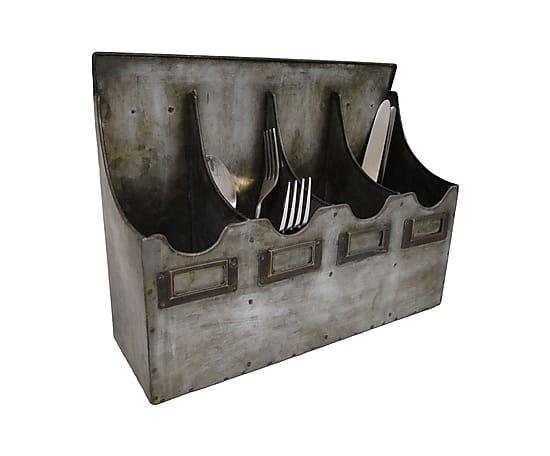 Настенный держатель столовых приборов - цинк, 32х24 см