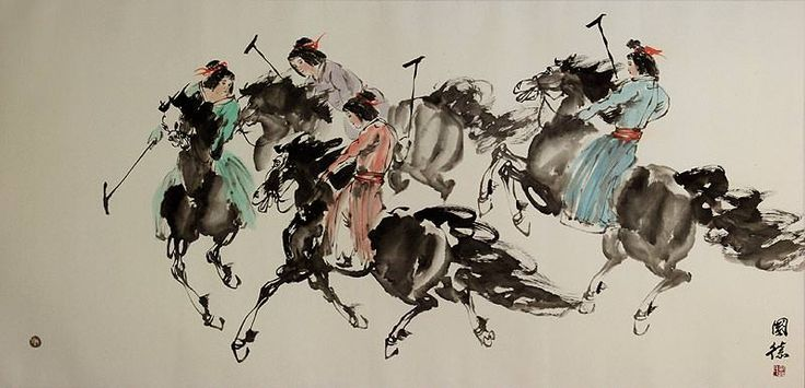 Traditional Chinese Horseback Polo - Large Painting