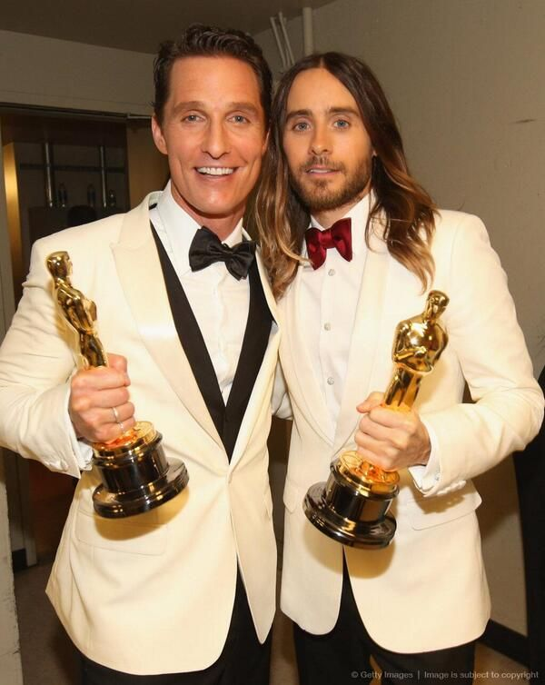 """Matthew McConaughey - Best Actor Oscar  and Jared Leto - Best Supporting  Actor Oscar  for """" Dallas Buyers Club""""  2013."""