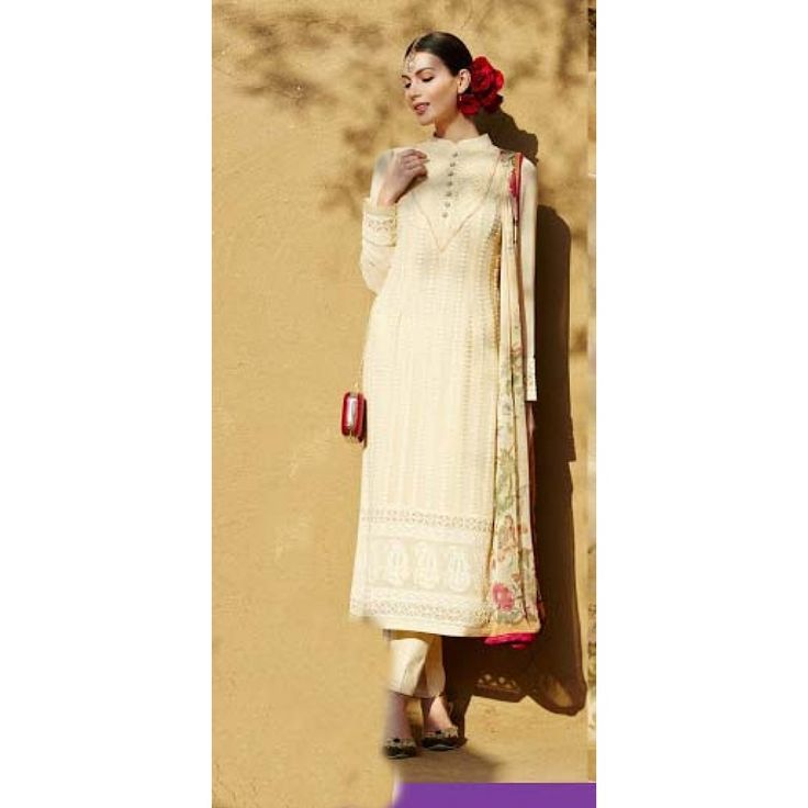 Straight Cut Style Suit in Cream for Party Wear Occassion