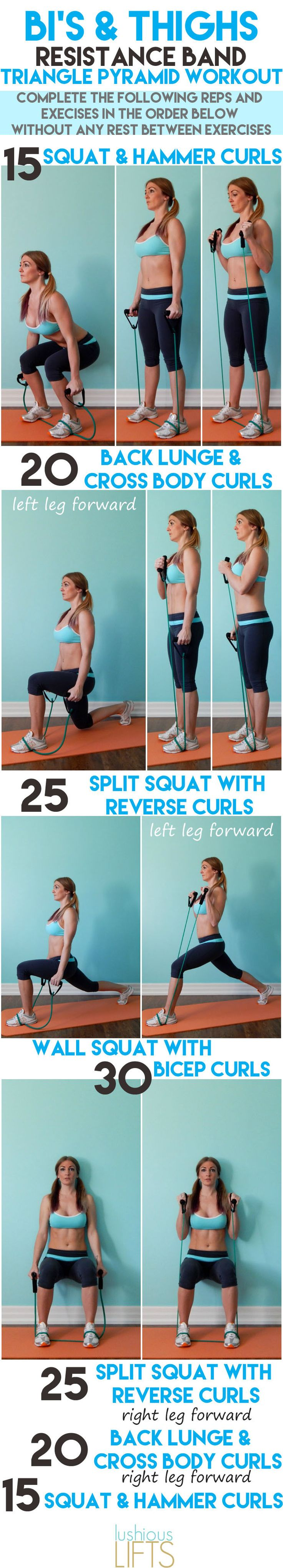 Burn more calories by combining two exercises together in this Bi's and Thighs Resistance Band Triangle Pyramid Workout || lushiouslifts.com