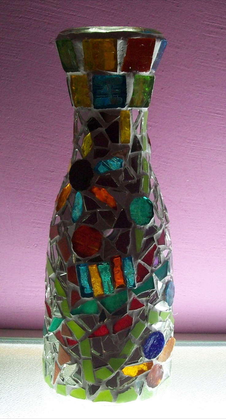 Florero de vidrio con venecitas espejos mosaiquismo - Cristal de espejo ...