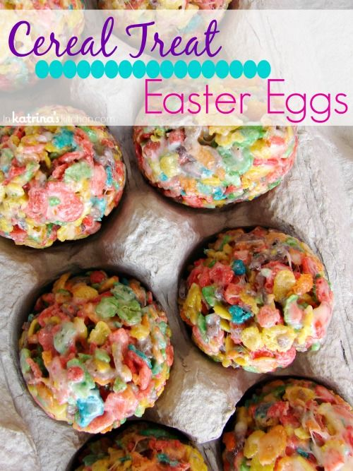 Use plastic eggs and Fruity Pebbles cereal to make these cute Easter Egg Cereal Treats! My kids will LOVE these!