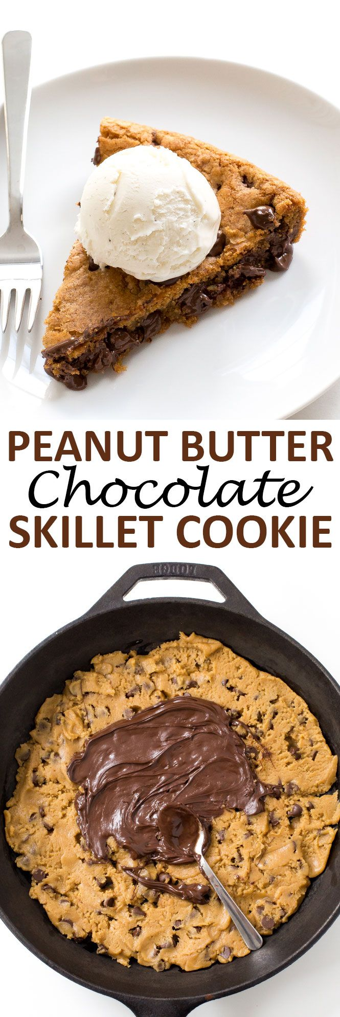 Peanut Butter Chocolate Skillet Cookie. Firm around the edges and soft and gooey…