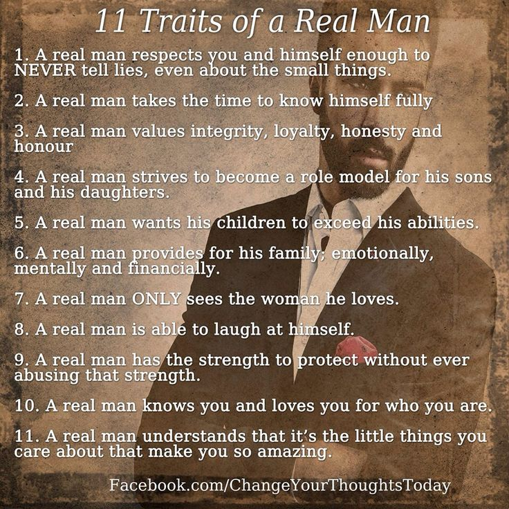 11 traits of a real man...
