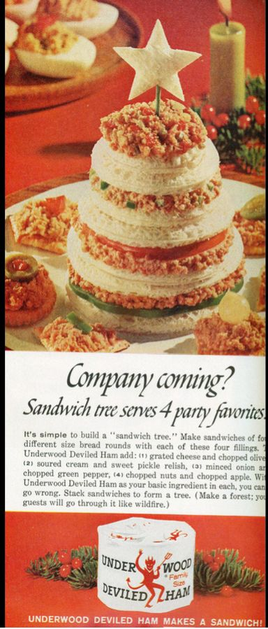 Underwood Deviled Ham Sandwich Tree, Fabulous Memories of Christmas Days Gone By, Still Love the Party Foods Mom Always Made -=- She was the Hostess with the Mostest, Her Tables for Parties :: Greeted with Oohs, and Aahs !!