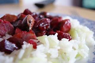 Pan fried sausage and beetroot with rice