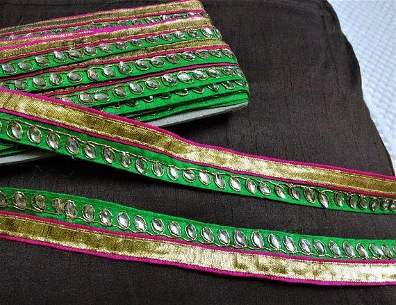 1 Yard Blue Velvet Fabric Trim-Golden Sequins Embroidered Trim-Silk Sari Fabric  Trim-India Fabric Trim-Table Runner Trim-Sari Border Ribbon from ...