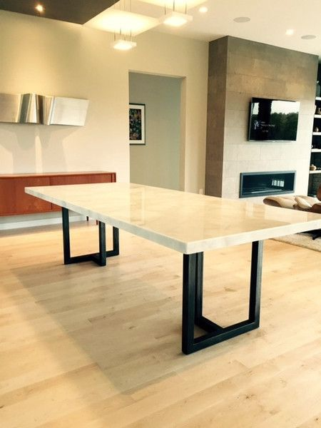 Custom Calcutta Marble and Steel Dining Table | Sarabi Studio