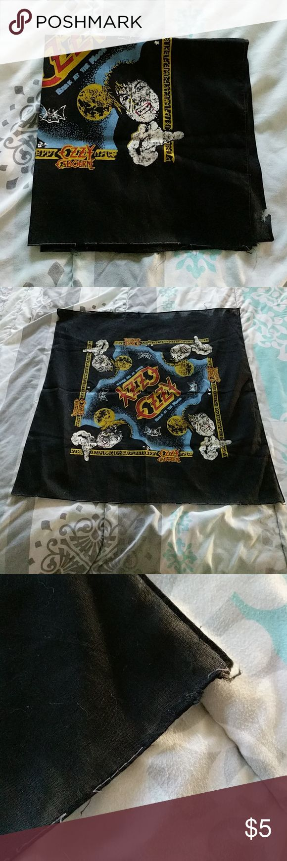 Vintage Ozzy Osbourne Bandana Condition: Used / Vintage / Normal wear & tear.  NOTICE: If you believe your bundle might weigh more than 5 LBS, please ask me to weigh it before you purchase. I can not pay the added shipping cost for bundles over 5 LBS.   My home is a SMOKE FREE / KITTY FRIENDLY home. Thank you!! :) Vintage Accessories Scarves & Wraps