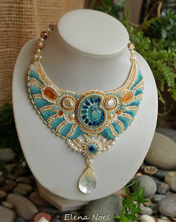 Necklace Bead Embroidery Art. Tenderness necklace in the