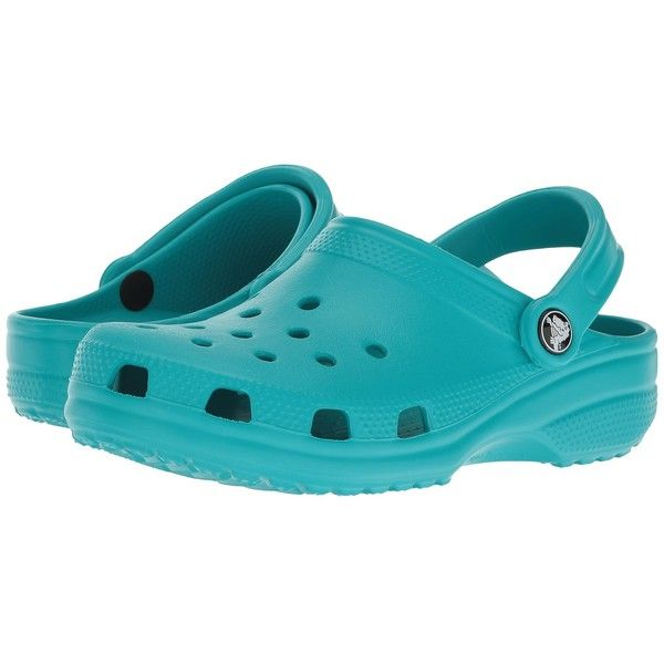 Crocs Classic Clog (Turquoise 1) Clog Shoes (110 BRL) ❤ liked on Polyvore featuring shoes, clogs, sport shoes, strappy shoes, crocodile print shoes, croc footwear and crocs shoes