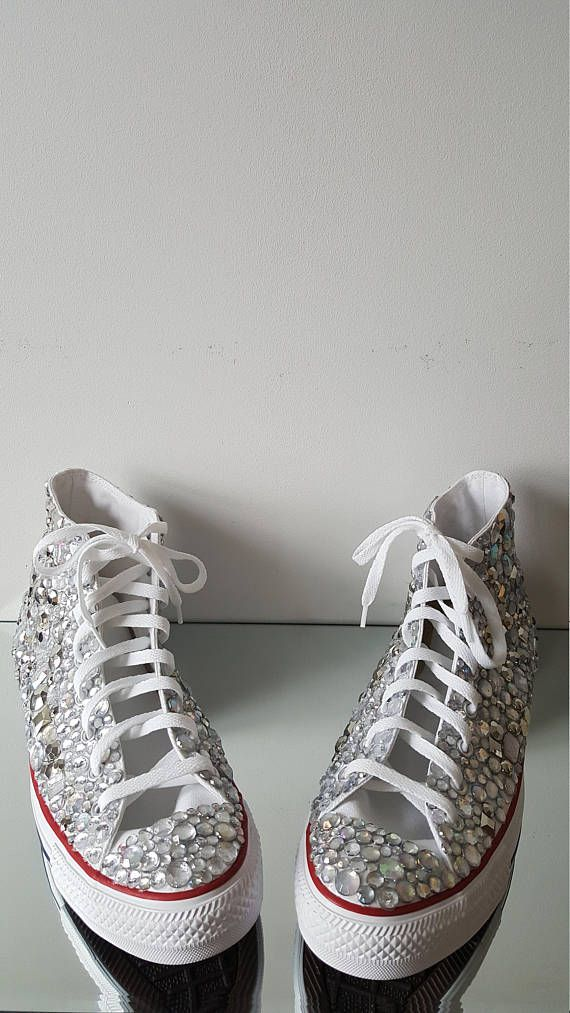 Silver and Crystal Rhinestone Converse Bling High Top Chuck