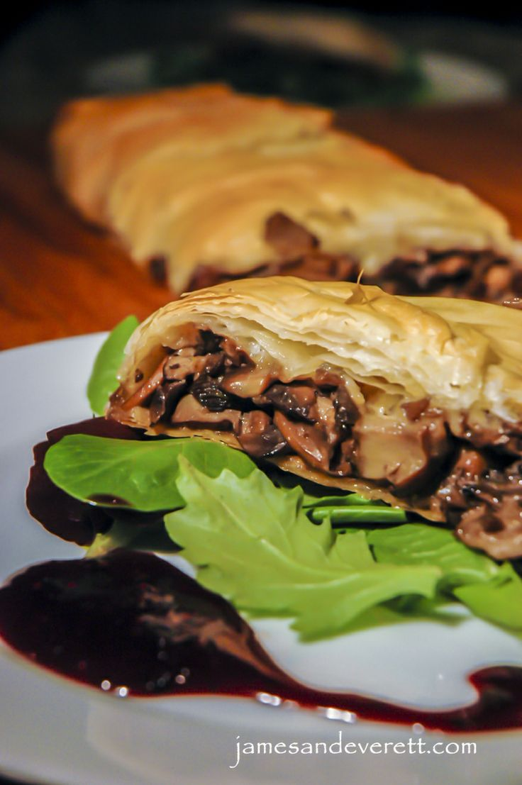 Mushroom Strudel. Flaky delicate layers of pastry wrap around an ...