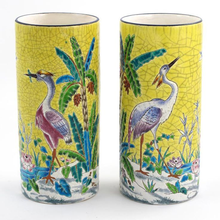 Longwy pair of yellow cloisonné vases with herons.