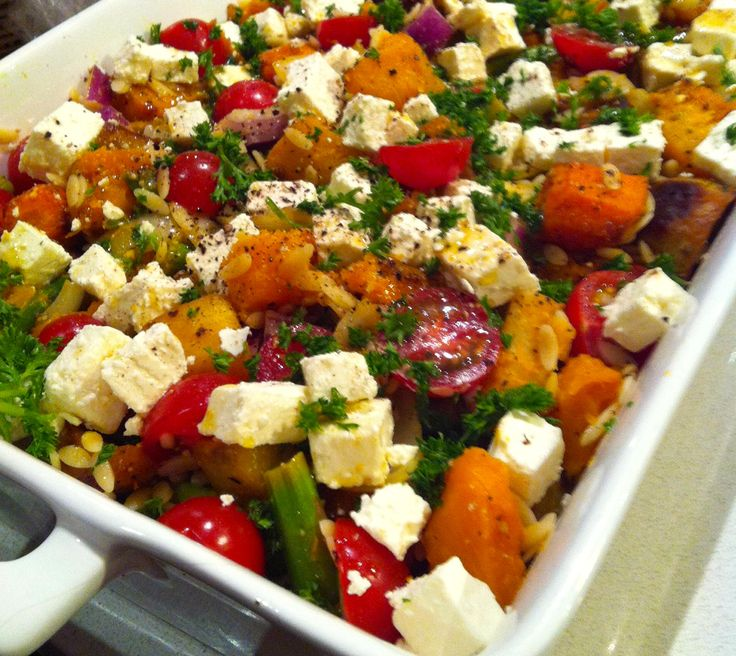 Roast Vegetable and Risoni Salad with Feta and Tomato