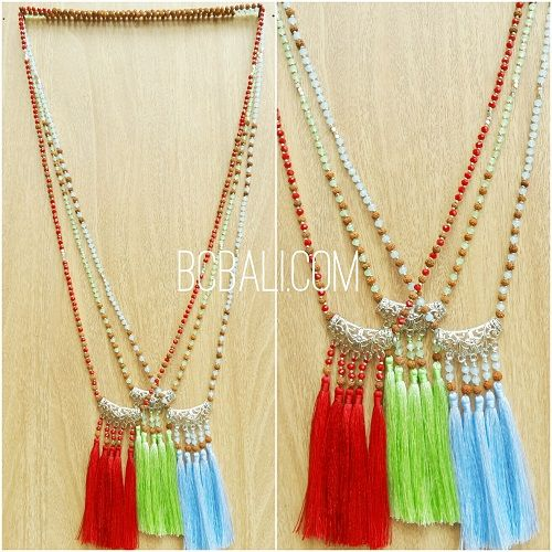 three color tassels pendant necklace silver bronze - three color tassels pendant necklace silver bronze