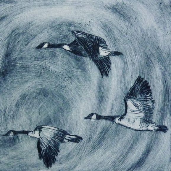 Louise Worthy 'The Voyage Home' Drypoint