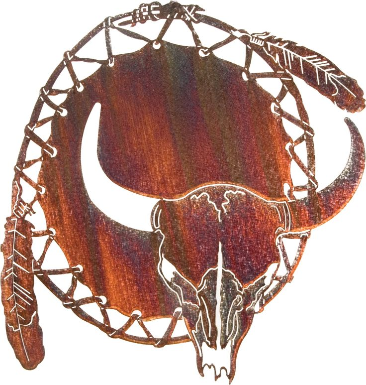 Dream Catcher With Cow Skull Metal Wall Art
