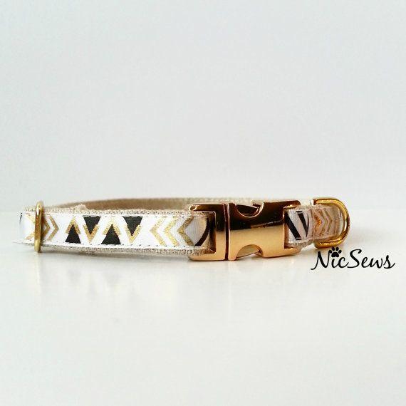 Dog collar Modern dog collar geometric Gold Dog Collar by NicSews