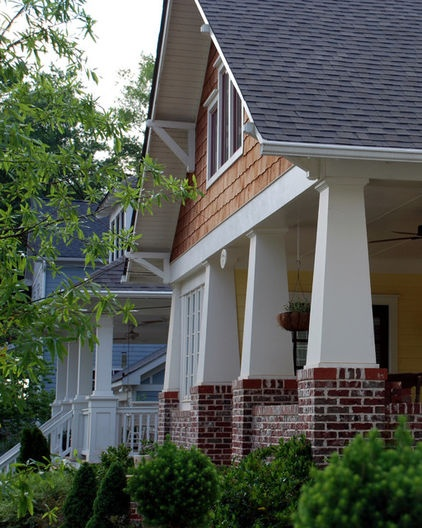 Nice combination of shake shingles tapered columns and for Arts and crafts porch columns