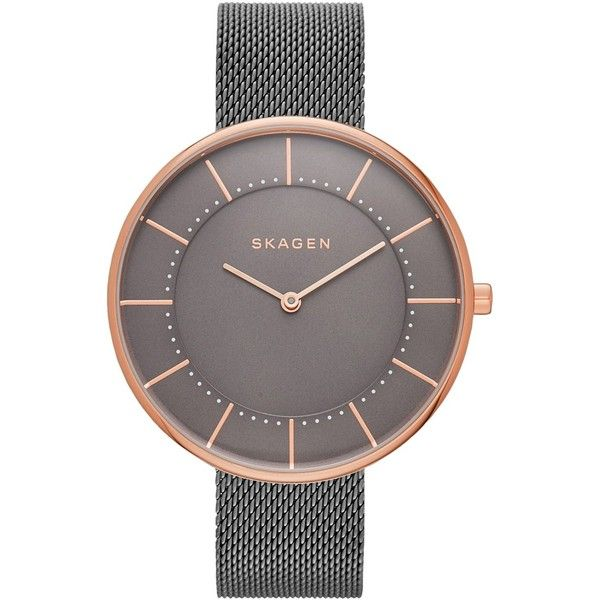 Skagen Women's Gunmetal Gray Ion-Plated Stainless Steel Mesh Bracelet... ($125) ❤ liked on Polyvore featuring jewelry, watches, grey, bracelet watch, mesh jewelry, skagen jewelry, gunmetal jewelry and stainless steel bracelet watch
