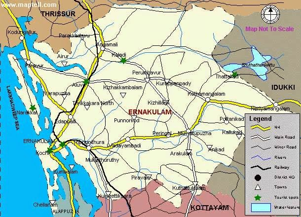 Ernakulam : formed on 1st April 1958 carving areas of erstwhile Travancore-Kochi-Malabar kingdoms. Major portion of the district is from t...
