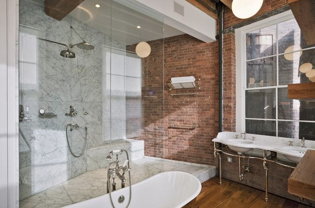 vintage hardwood and bricks | ... hardwood floors, wood floors in bathroom, marble shower surround