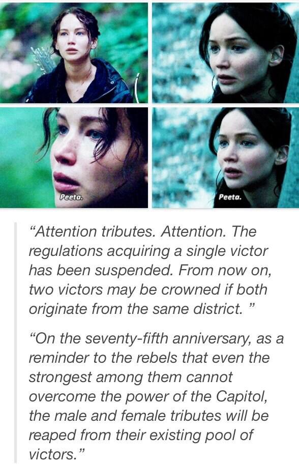 Peeta. It was always about Peeta. She did her mourning, but then Peeta would come back in and she'd know that she had to do whatever it took to save him.